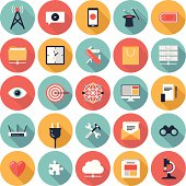 Set of 25 multicolor SEO and web icons on white