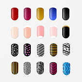 Set of 25 painted nail tips isolated on white. Nail art design concept. Different ideas for DIY manicure and pedicure. Vector illustration.