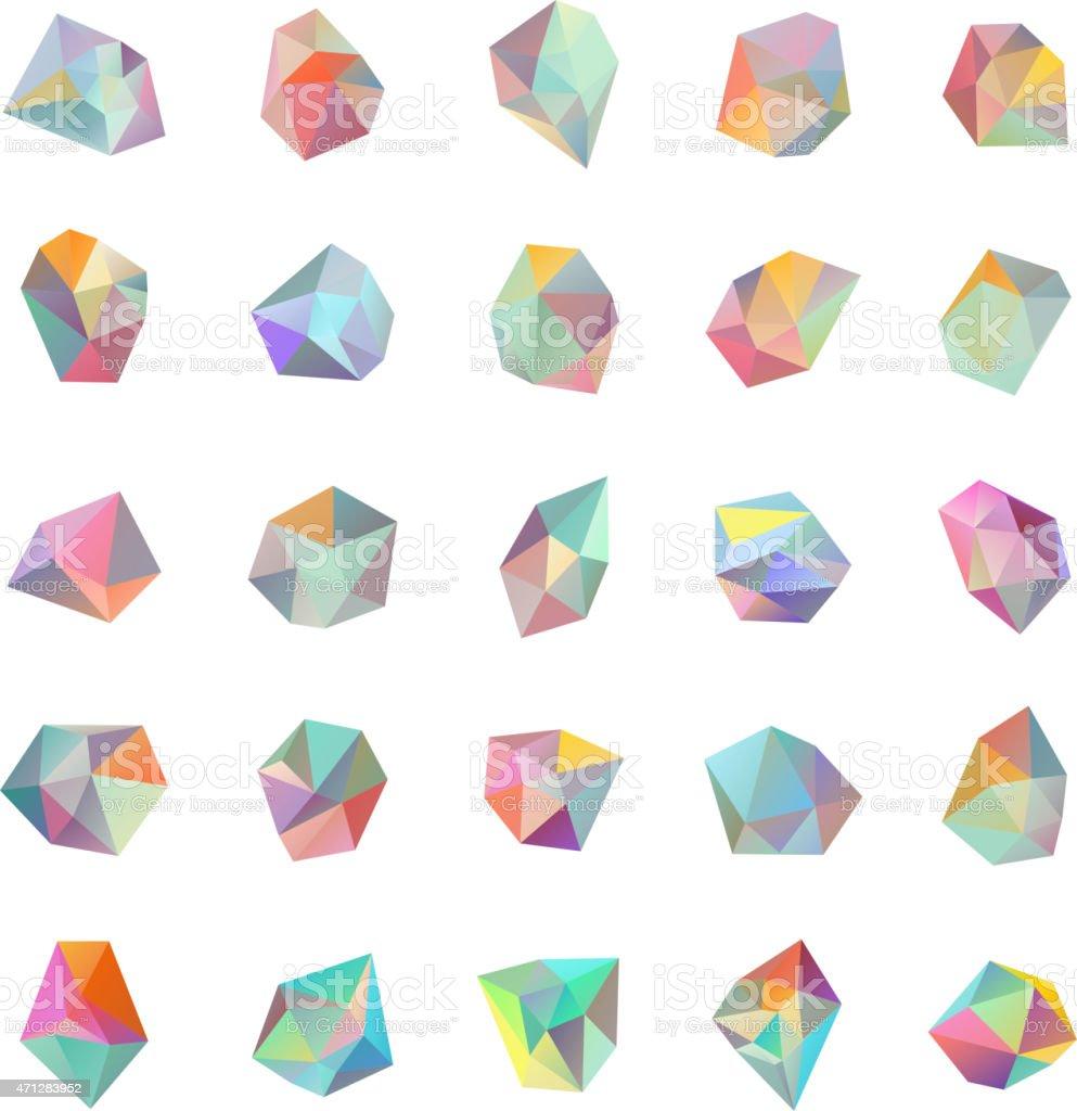 Set of 25 pastel color geometric crystal effect shapes vector art illustration