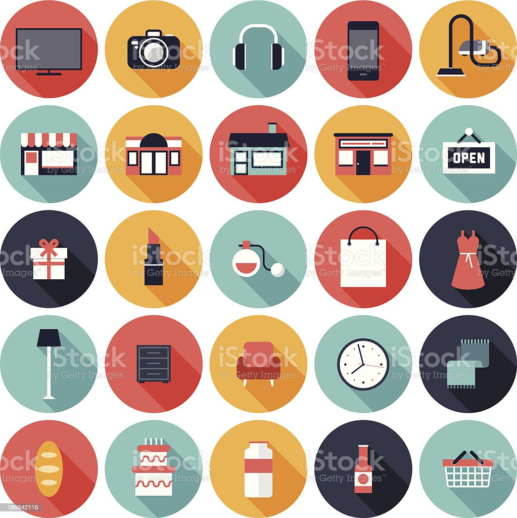 Set of 25 shopping icons in colorful circles vector art illustration