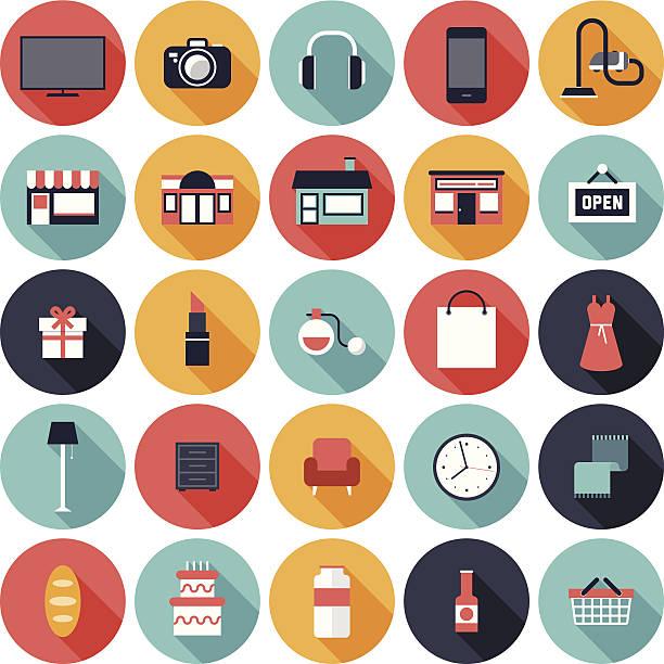 Satz von 25 shopping Symbole in Farbige Kreise – Vektorgrafik