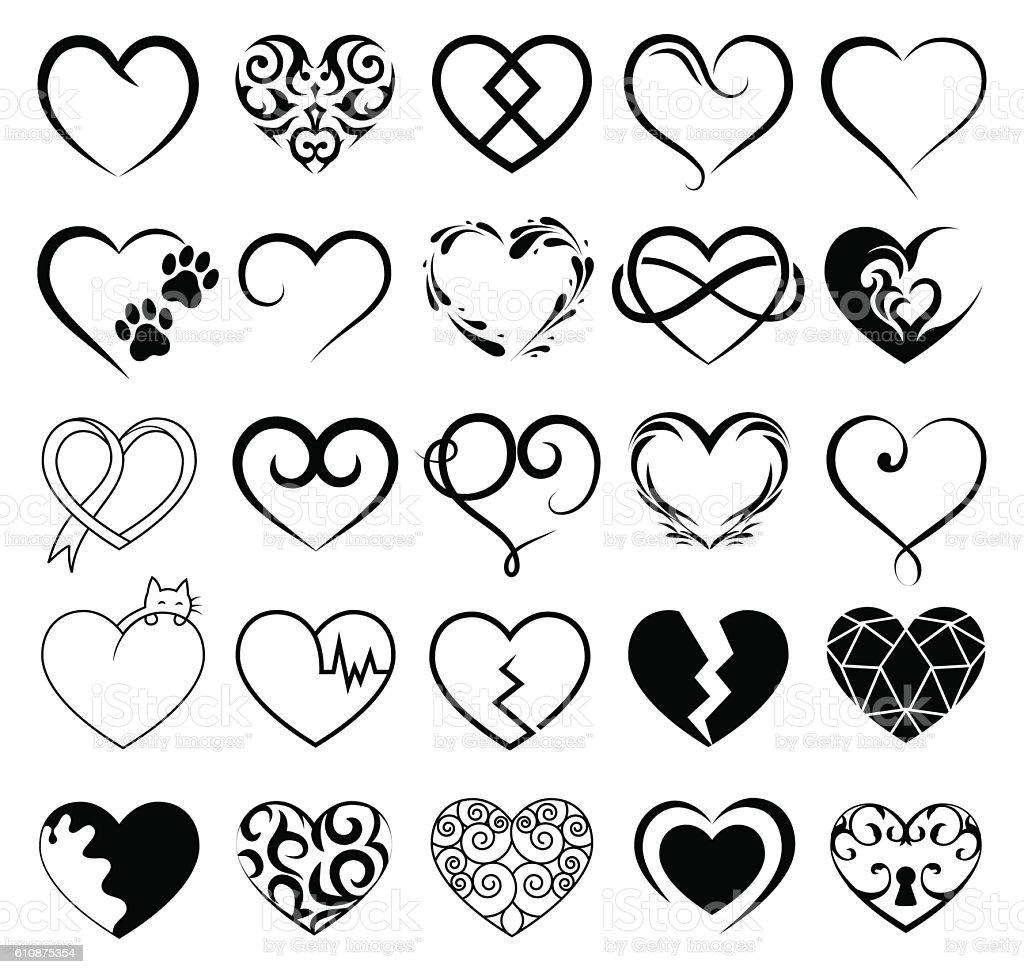 Set of 25 tattoo hearts image. Vector symbol ベクターアートイラスト
