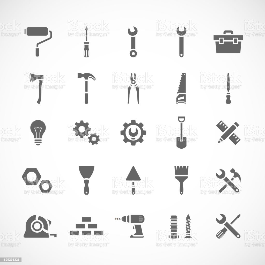 Set of 25 tool icons vector art illustration