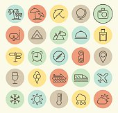 Set of Isolated Universal Minimal Simple Vintage Thin Line Travel Icons on Circular Color Buttons.