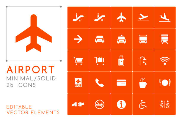 Set of 25 Universal Airport Icons on Color Background . Isolated Elements Isolated Vector Elements airport clipart stock illustrations