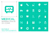 Set of 25 Universal Medical Icons on Color Background . Isolated Elements