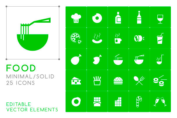 set of 25 universal solid food icons on color background . isolated elements - burger and chicken stock illustrations