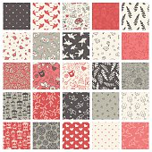 Beautiful set of 25 hand-sketched valentine's day seamless patterns. Great for holiday decoration, wrapping paper, scrapbooking, invitation cards, etc.