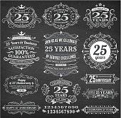 Set of 25 year annniversary hand-drawn chalkboard royalty free