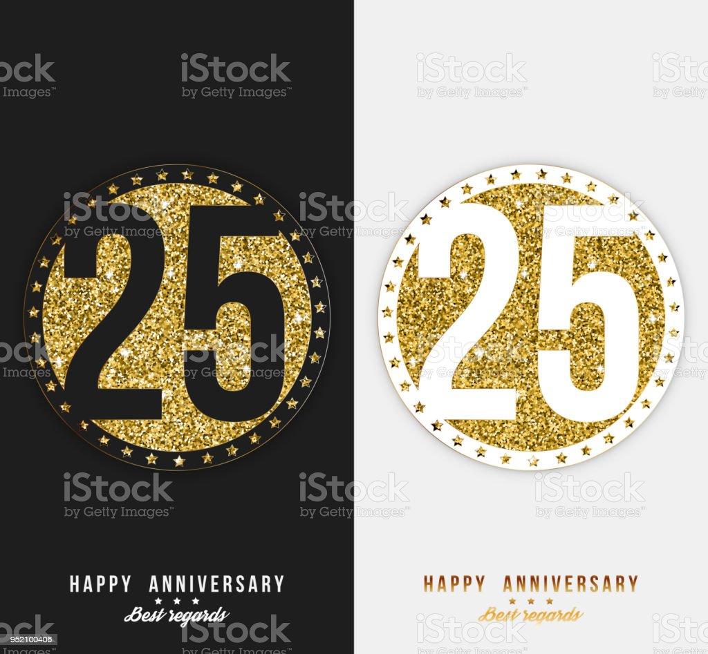 Satz von 25. Herzlichen Glückwunsch Karten Vorlage mit goldenen Elementen. – Vektorgrafik