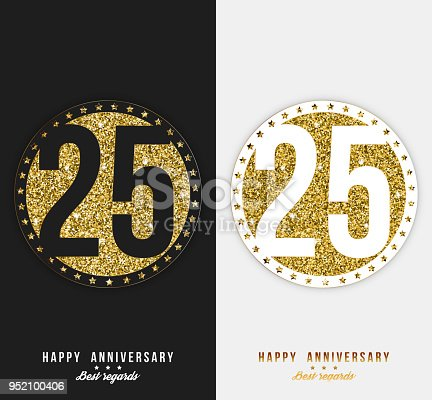 set of 25th happy anniversary cards template with gold elements stock vector art more images of 25th birthday 952100406 istock
