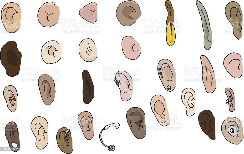 Set of 29 Ears royalty-free stock vector art