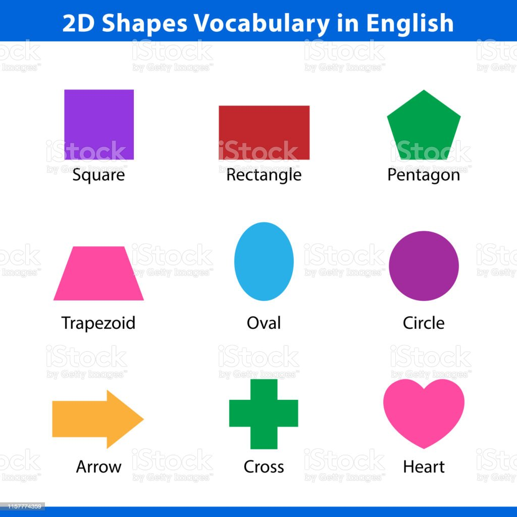 Set Of 2d Shapes Vocabulary In English With Their Name Clip Art