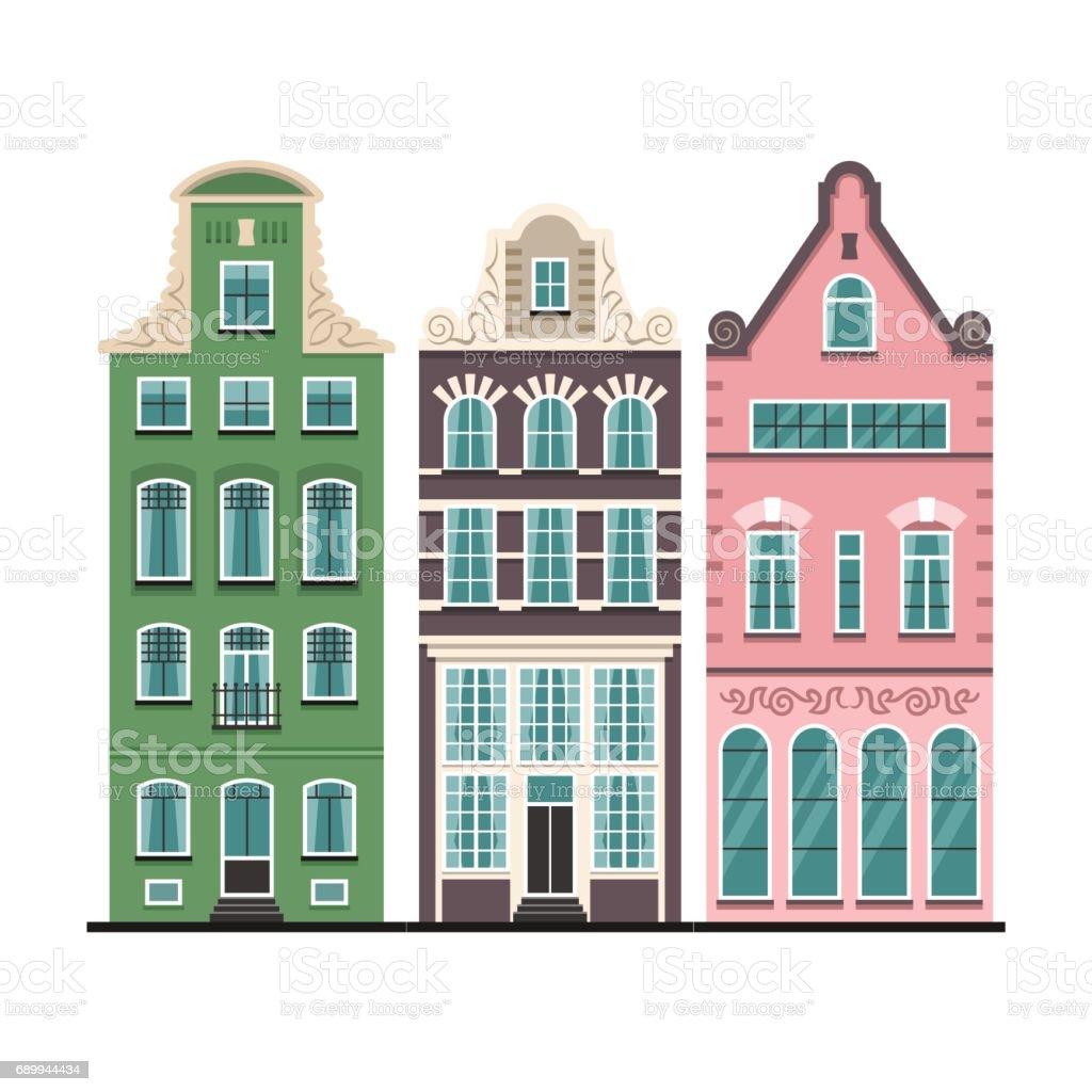 Ilustración de Conjunto De Amsterdam 3 Viejas Casas Fachadas Dibujos ...