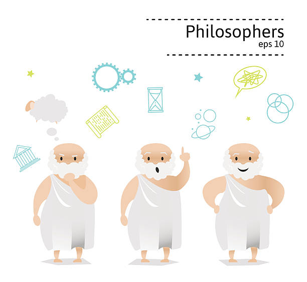 Set of 3 ancient greek philosopher Set of 3 ancient greek philosopher and thinker. one senior man only illustrations stock illustrations
