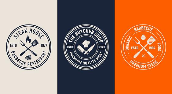 Set of 3 Barbecue logos. BBQ template menu design. Vintage Restaurant emblems. Trendy design. Vector illustration