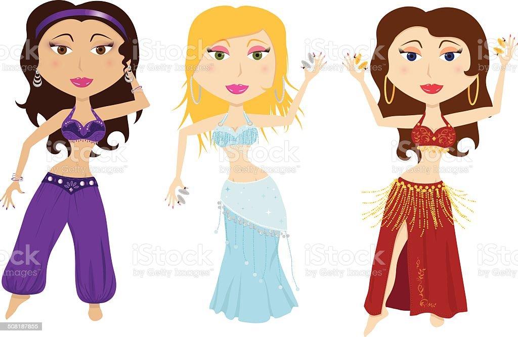 Set of 3 belly dancers illustration vector art illustration