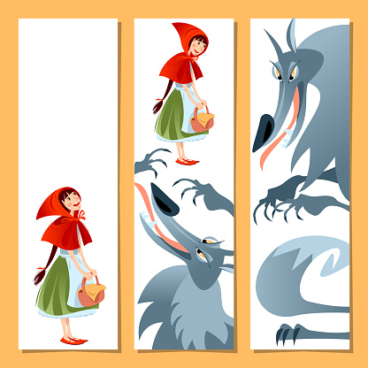 Set of 3 bookmarks with Little Red Riding Hood and Big Bad Wolf. Template.