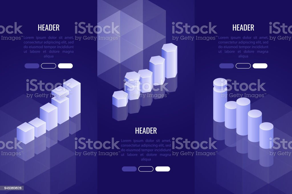 Set Of 3 Business Headers With Various Chart And Graph Data