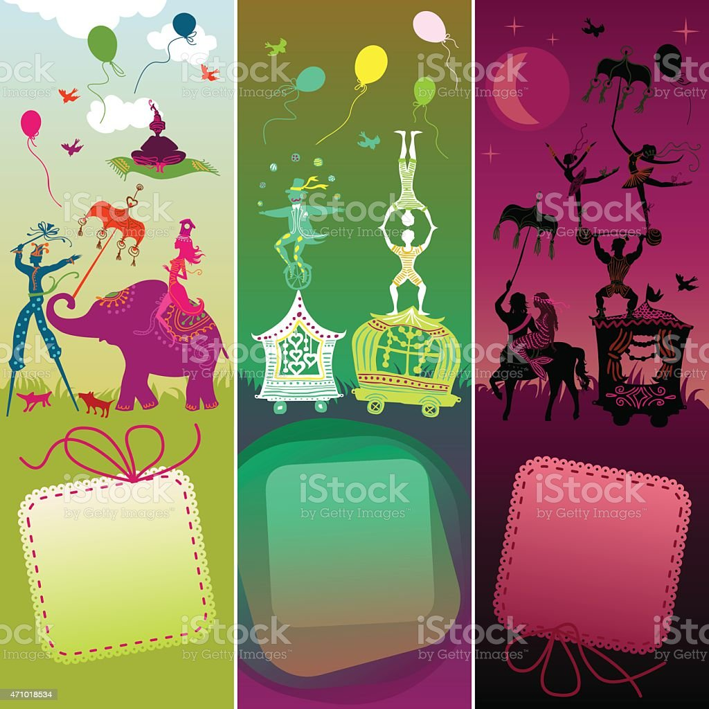 set of 3 cards with funny circus caravan vector art illustration