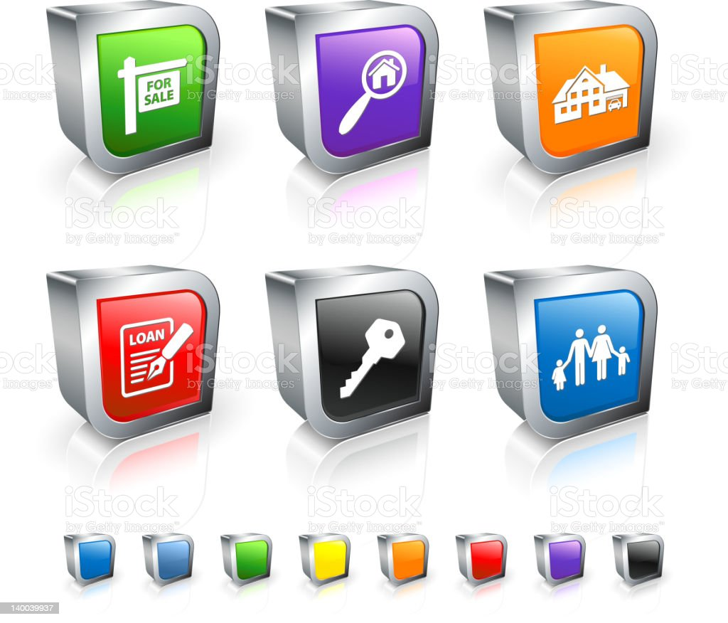 set of 3 dimensional real estate icons royalty-free stock vector art