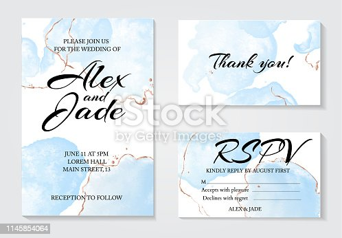 Set of 3 greeting watercolor templates: invitation wedding card, thank you and rspv card. Modern tender blue fluid ink with golden line decorative elements. Abstract drawing  design.