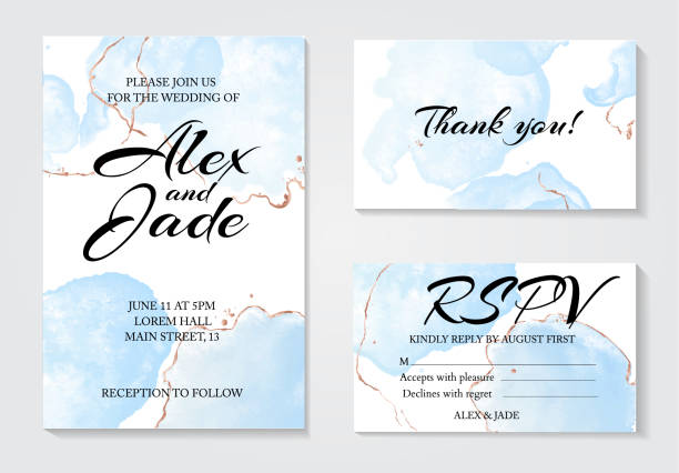 set of 3 greeting watercolor templates: invitation wedding card, thank you and rspv card. modern tender blue fluid ink with golden line decorative elements. abstract drawing  design - thank you background stock illustrations