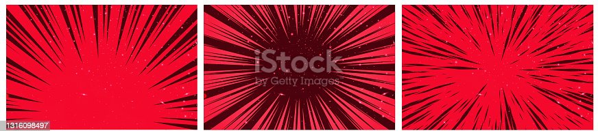 istock Set of 3 Hyper Speed Warp Sun Rays or Explosions. Boom for Comic Books. Radial Background. Vector. 1316098497