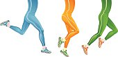 Running legs on a white background