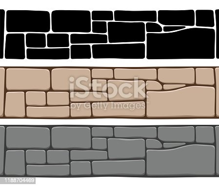 Set of 3 kinds of seamless stone wall textures, isolated on white background. Brick texture backgrounds, stones patterns. Vector illustration.