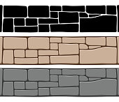Set of 3 kinds of seamless stone wall textures, isolated on white background.