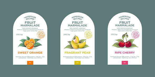 Set of 3 labels, packaging of fruit marmalade.