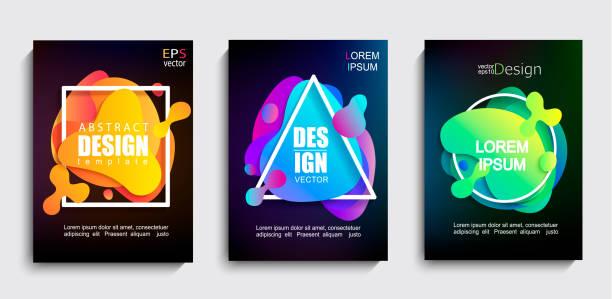 ilustrações de stock, clip art, desenhos animados e ícones de set of 3 liquid gradient color geometric shapes. - amiba