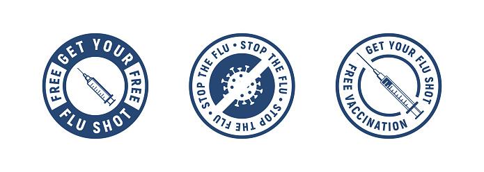 Set of 3 medicine labels with syringe, bacteria or virus icons. Get your flu shot, Vaccination, Stop the flu. Modern minimal design. Medical labels, s, badges for pandemia. Vector illustration