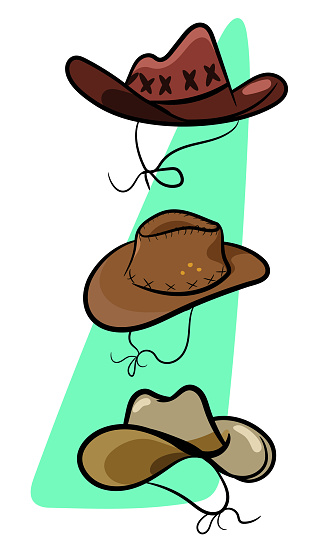 A set of 3 popular stylish cowboy hats worn by cowboys in the wild west texas. Country Style Fashion Hats. Wild West Texas Country graphic elements.