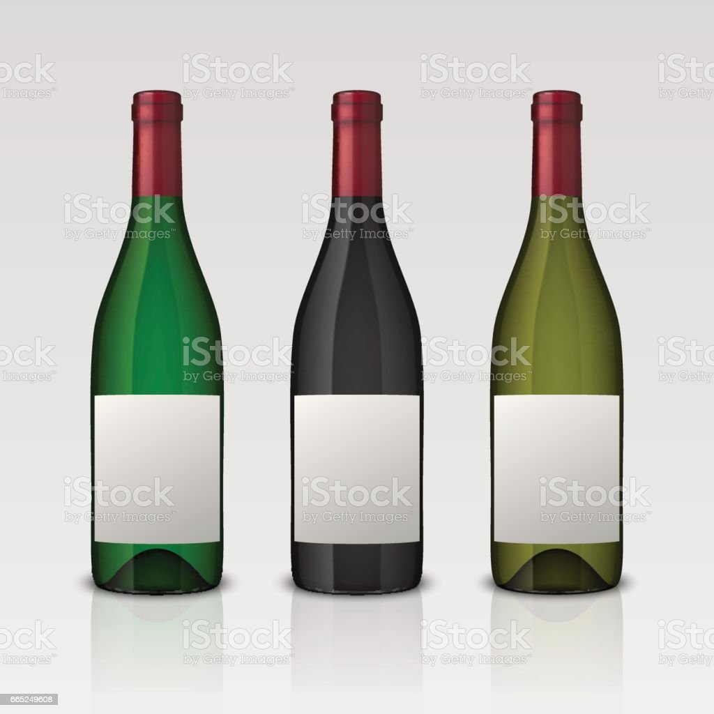 Set of 3 realistic vector wine bottles with blank labels isolated on white background. Design template in EPS10 vector art illustration