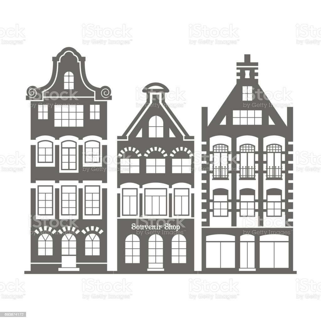 Set Of 3 Shape Holland Old Houses Facades Stock Illustration