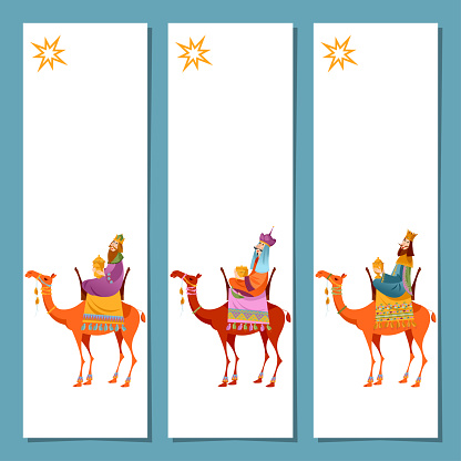 Set of 3 universal Christmas greeting cards  and bookmarks with three biblical Kings: Caspar, Melchior and Balthazar. Three wise men on camels. Template.