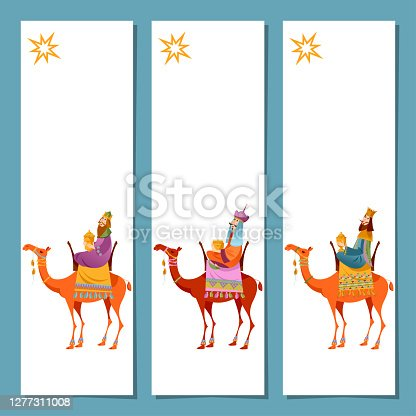 istock Set of 3 universal Christmas greeting cards  and bookmarks with three biblical Kings: Caspar, Melchior and Balthazar. Three wise men on camels. Template. 1277311008