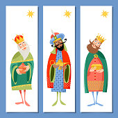 Set of 3 universal Christmas greeting cards  and bookmarks with three biblical Kings: Caspar, Melchior and Balthazar.  Three wise men. Template. Vector illustration.
