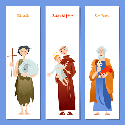 Set of 3 universal greeting cards and bookmarks with Saint Anthony, Saint John, Saint Peter (St. Anthony, St. John, St. Peter). Template, template.