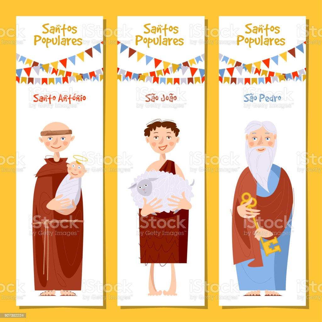 Set of 3 universal greeting cards  and bookmarks with Saint Anthony, Saint John, Saint Peter (Santo Antônio, São João, São Pedro). Template. - ilustração de arte vetorial