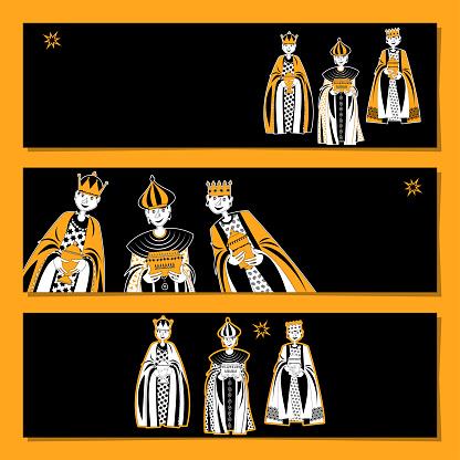 Set of 3 universal horizontal banners. Children in Biblical Magi costumes. Three Wise Men. Three Kings.