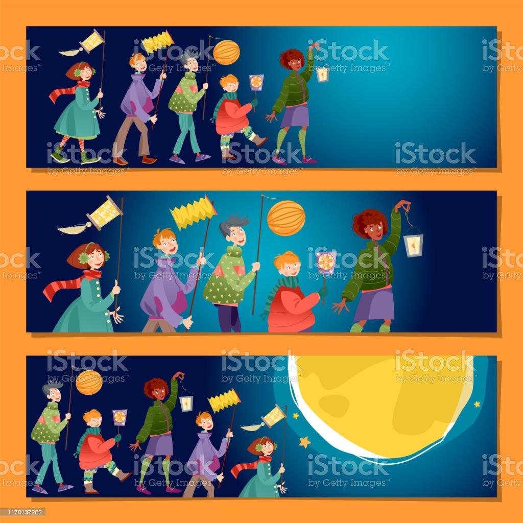 Satz Von 3 Universellen Horizontalen Banner Kinder Mit Laternen Feiern Den Martinstag Laternenumzug Stock Vektor Art Und Mehr Bilder Von Banneranzeige Istock