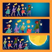 Set of 3 universal horizontal banners. Children with lanterns celebrate St.Martin's Day. Laternenumzug (Lantern parade).