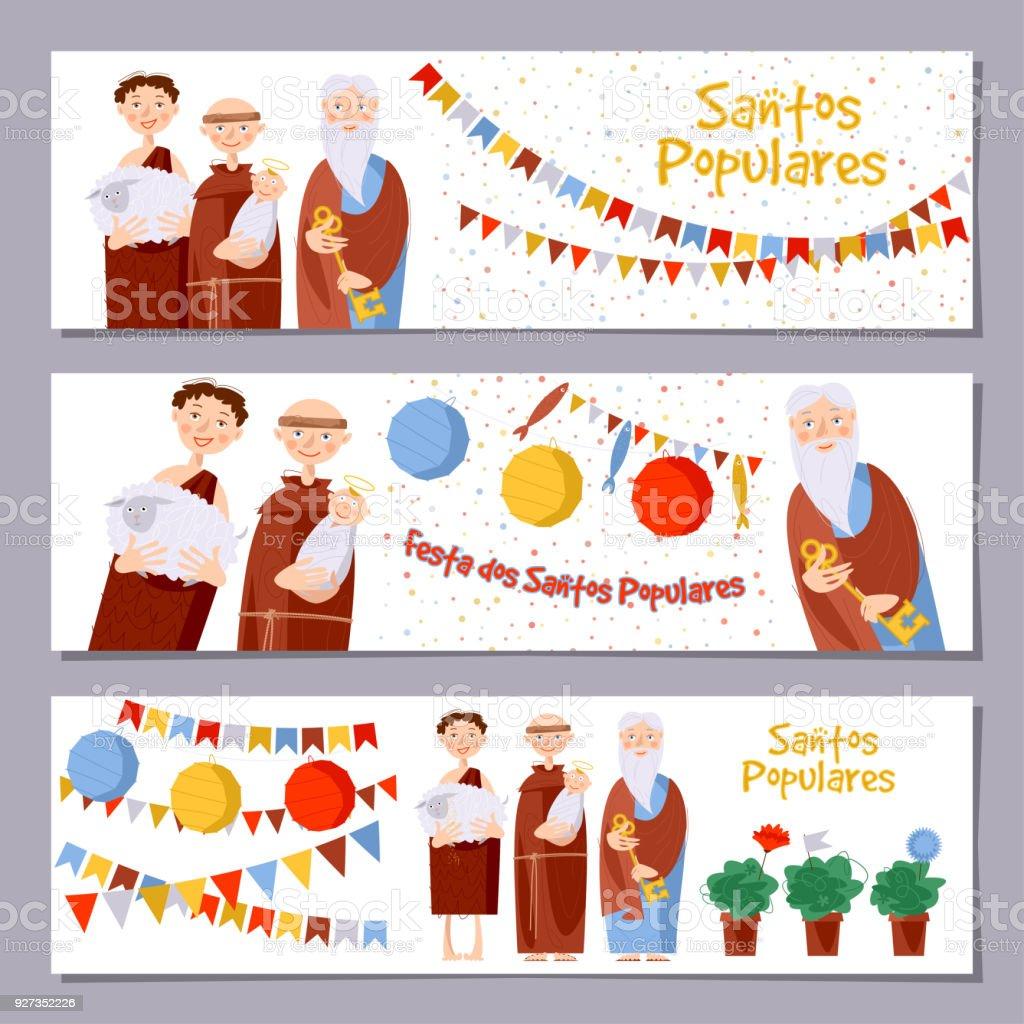 """Set of 3 universal horizontal banners for Portuguese festival """"Santos Populares"""" ( Popular Saints' ). Template. - ilustração de arte vetorial"""