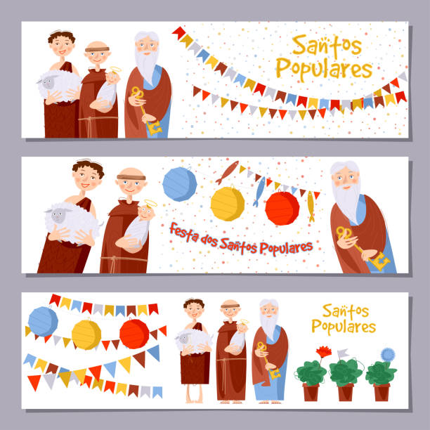 "Set of 3 universal horizontal banners for Portuguese festival ""Santos Populares"" ( Popular Saints' ). Template. Set of 3 universal horizontal banners for Portuguese festival ""Santos Populares"" ( Popular Saints' ). Template. Vector illustration. basil stock illustrations"