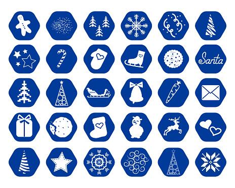 Set of 30 festive buttons for decoration, web pages, sites design, social media.