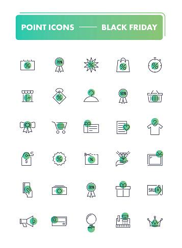 Set of 30 line icons. Black Friday