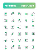 Set of 30 line icons. Workplace and stationery collection. Vector illustration for office or freelance work
